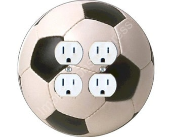 Soccer Sports Ball Double Duplex Outlet Plate Cover A
