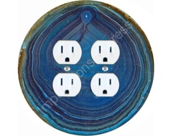 Blue Geode Stone Double Duplex Outlet Plate Cover