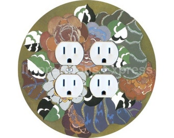 Floral Art Deco Art Nouveau Double Duplex Outlet Plate Cover