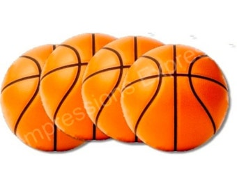 Orange Basketball Coasters - Set of 4
