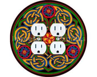 Celtic Knot Design Double Duplex Outlet Plate Cover