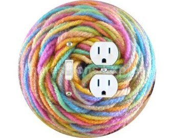 Pastel Knitting Wool Yarn Toggle Switch and Duplex Outlet Double Plate Cover