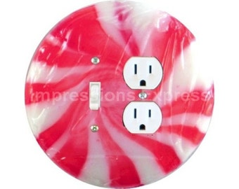 Peppermint Candy Toggle Switch and Duplex Outlet Double Plate Cover