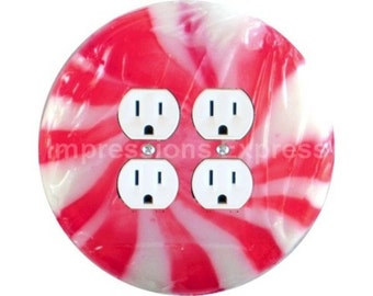 Peppermint Candy Double Duplex Outlet Plate Cover