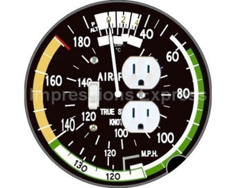 Aviation Airspeed Indicator Toggle Switch and Duplex Outlet Double Plate Cover
