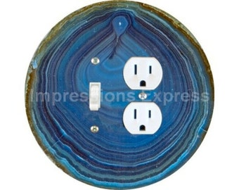Blue Geode Stone Toggle Switch and Duplex Outlet Double Plate Cover