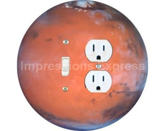 Red Planet Mars Space Toggle Switch and Duplex Outlet Double Plate Cover