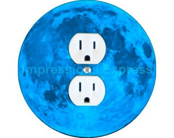 Blue Moon Duplex Outlet Plate Cover
