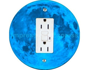 Blue Moon Grounded GFI Outlet Plate Cover