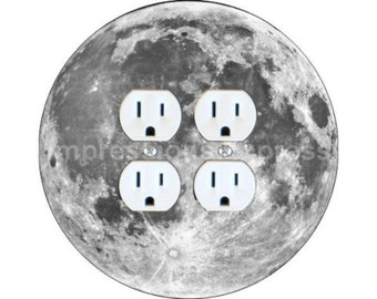 Moon from Space Double Duplex Outlet Plate Cover