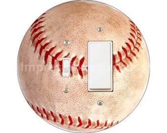 Baseball Ball Toggle and Decora Rocker Switch Plate Cover