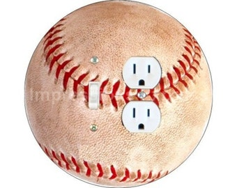 Baseball Ball Toggle Switch and Duplex Outlet Double Plate Cover