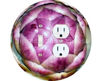 Artichoke Toggle Switch and Duplex Outlet Double Plate Cover