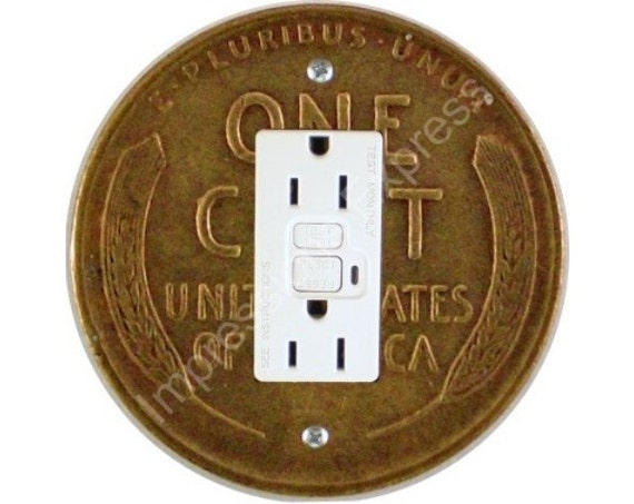 Wheat Penny Coin Grounded GFI Outlet Plate Cover