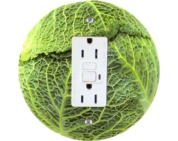 Cabbage Grounded GFI Outlet Plate Cover