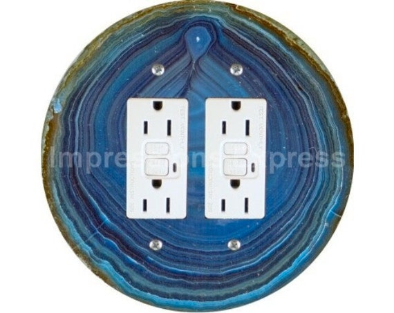Blue Geode Stone Double GFI Outlet Plate Cover