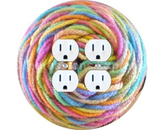 Pastel Knitting Wool Yarn Double Duplex Outlet Plate Cover