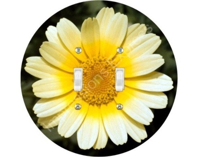 Yellow Daisy Flower Double Toggle Switch Plate Cover