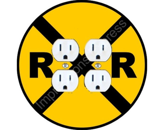 Railroad Crossing Sign Double Duplex Outlet Plate Cover