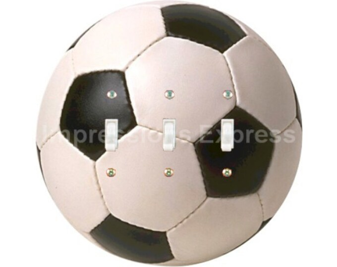 Soccer Sports Ball Triple Toggle Switch Plate Cover