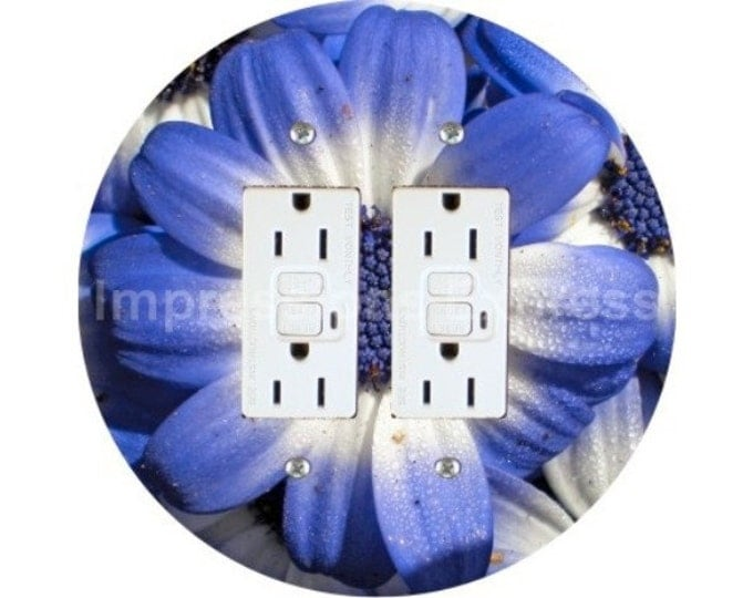 Blue Daisy Flower Double GFI Outlet Plate Cover