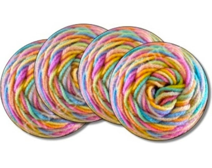Pastel Knitting Wool Yarn Coasters - Set of 4