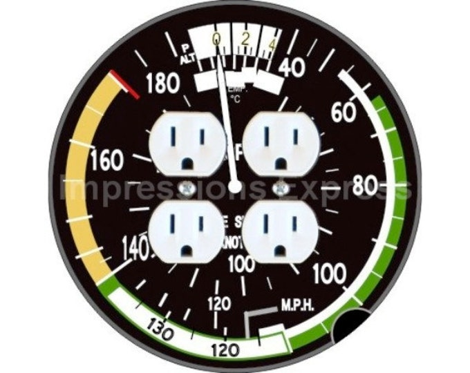 Aviation Airspeed Indicator Double Duplex Outlet Plate Cover