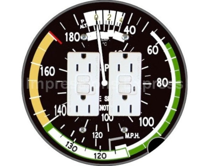 Aviation Airspeed Indicator Double GFI Outlet Plate Cover