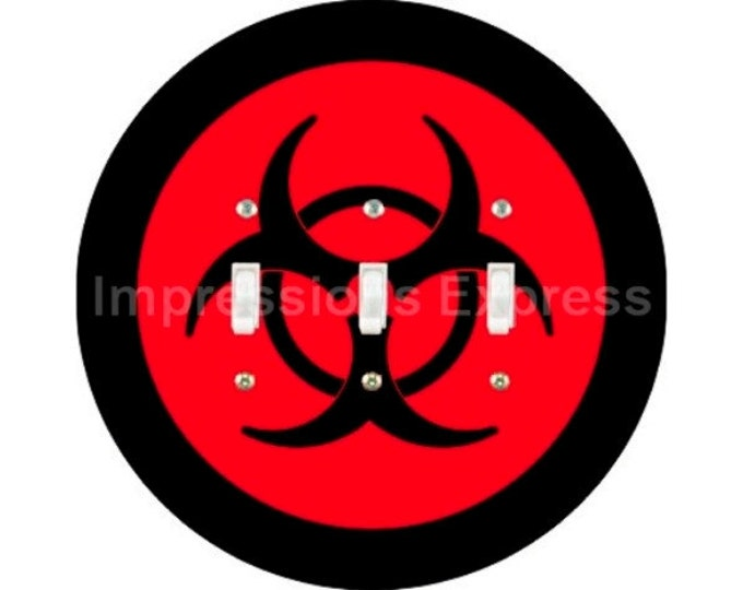 Biohazard Sign Triple Toggle Light Switch Plate Cover