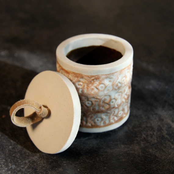 Small Rustic Stoneware Scandinavian Modern Butterfly Jar with Creamy Nutmeg glaze