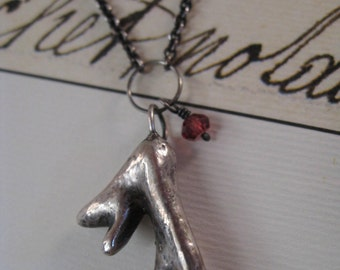 Solid Silver Antler Coral Necklace