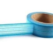 2 Shades BLUE and WHITE Horizontal Stripes - Japanese Washi Style Decorative Masking Tape - 11 yards (10 meters)