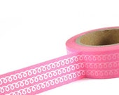 PINK with White Curls - Japanese Washi Style Decorative Masking Tape - 11 yards (10 meters)