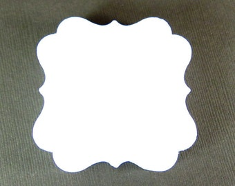 Set of 40 - 2 x 2 inches - WHITE - Square Bracket - Hand Punched Blank Cardstock - Die Cut Gift Merchandise Hang Tags