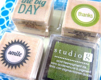 The Big Day, Smile, Thanks - Set of 3 Stamps with Ink Pad Rubber Stamps- Logo, Branding, Packaging, Invitations, Party, Favors, Wedding Gift