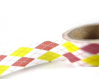 SALE - Pink and Yellow Argyle - Washi Decorative Tape - 11 yards (10 meters) - craft supplies, card making, weddings, planner stickers