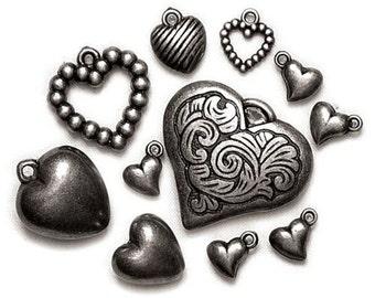 11 - Metallicized Hearts Ox Gold- a003 - Beads