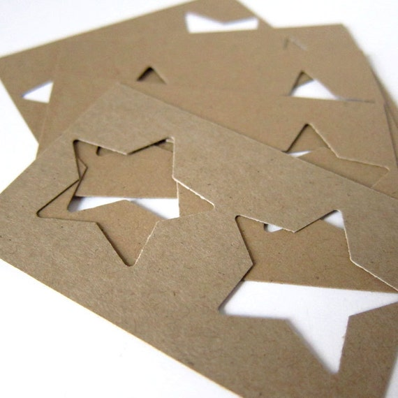 "Set of 10 - 1 13/20"" inches - KRAFT - Medium Stars Hand Punched Stencils"