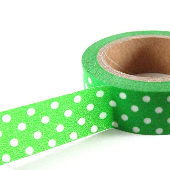 GREEN with WHITE Polka Dots - Japanese Washi Style Decorative Masking Tape - 11 yards (10 meters)