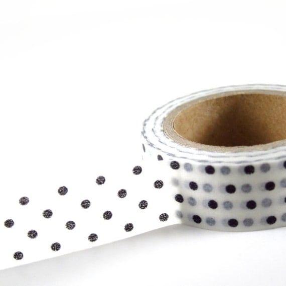 WHITE with BLACK Polka Dots - Japanese Washi Style Decorative Masking Tape - 11 yards (10 meters)