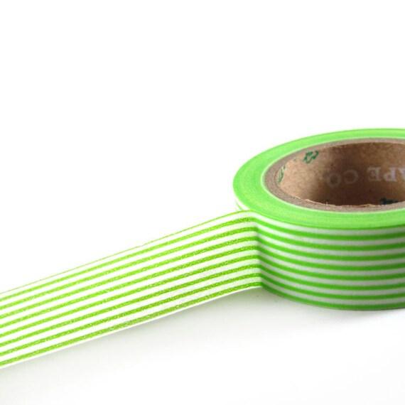 LIME GREEN / WHITE Horizontal Stripes - Japanese Washi Style Decorative Masking Tape - 11 yards (10 meters)