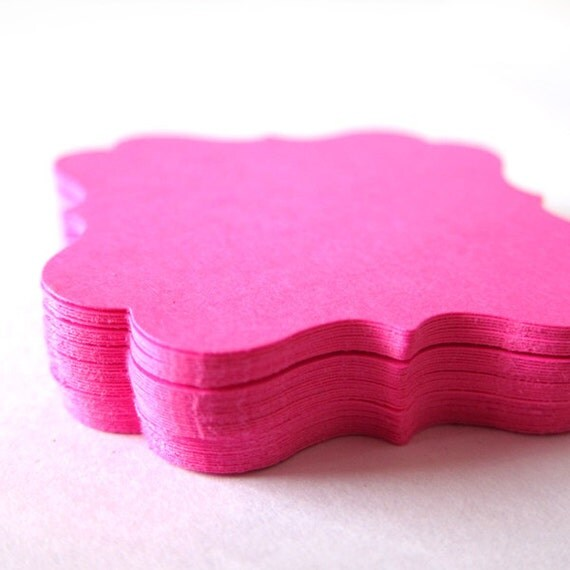 Set of 40 - 2 x 2 inches - HOT PINK - Square Bracket - Hand Punched Blank Cardstock - Die Cut Gift Merchandise Hang Tags