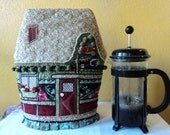 Insulated Quaint Cottage Style Teapot Cosy with PomPoms and Ruffled Skirt