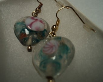 Clear Glass Heart Earrings with Blue and Pink and Shimmers