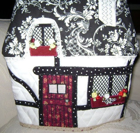 Classic Black and White Cottage Teapot Cosy with Red Accents