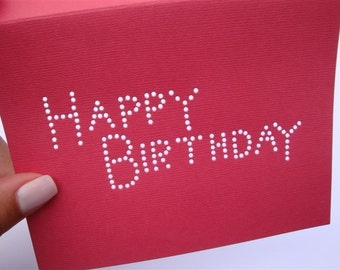 Happy Birthday - One Premium Hand-hammered Greeting Art Card - DDOTS - Candy Apple Red Personalized