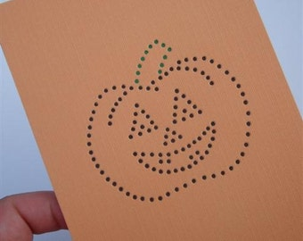 "Jack-O-Lantern - ""Halloween Fright"" - Three Color Hand-hammered 4X5 Greeting Art Card - Textured Card Stock DDOTS"
