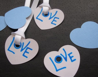 "Candy Hearts - ""Love & XO"" - Six (6) Large Premium Hand-hammered Confetti Gift Tags - Textured Card Stock DDOTS"