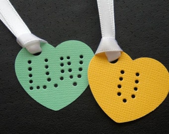"Candy Hearts - ""Love You & XO"" - Four (4) Large Premium Hand-hammered Confetti Gift Tags - Textured Card Stock DDOTS"