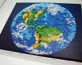 Dotted Planet Earth - 16x20 Sized Giclee Print on Stretched Canvas - 2D Etsy and NASA Contest Entry - DDOTS